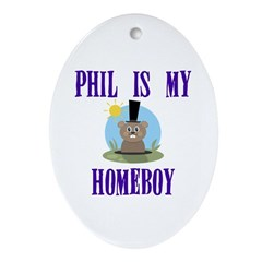 Homeboy Groundhog Day Oval Ornament