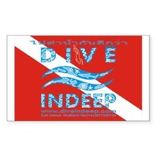 Dive Indeep Logo on Dive Flag Sticker (Rectangular