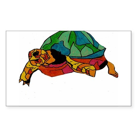 Stained Glass Turtle Rectangle Sticker