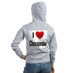 I Love Chesapeake (Back) Women's Zip Hoodie