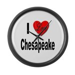 I Love Chesapeake Large Wall Clock