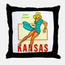 Vintage Kansas Pin-up Throw Pillow