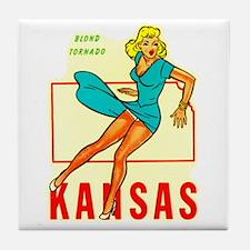 Vintage Kansas Pin-up Tile Coaster