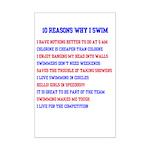 Ten reasons to swim - Male Mini Poster Print