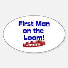 Loom Knitting Man Oval Decal