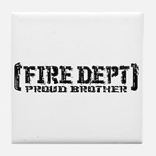 Proud Brother Tattered Fire Dept Tile Coaster