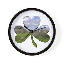 Irish Shamrock Metallic Wall Clock