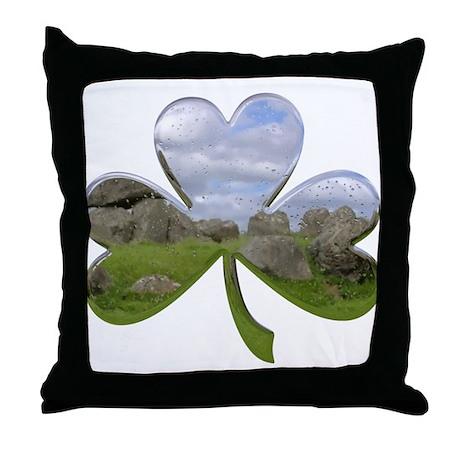 Irish Shamrock Metallic Throw Pillow