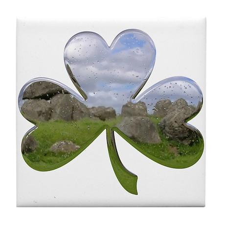 Irish Shamrock Metallic Tile Coaster