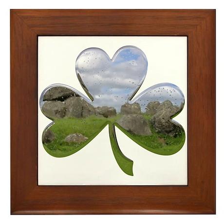 Irish Shamrock Metallic Framed Tile