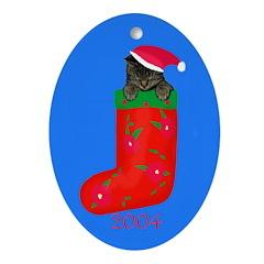 Christmas Kitty 2004 Oval Ornament