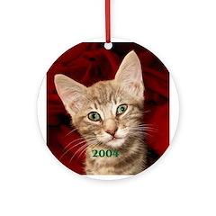 Grey Tabby Kitten 2004 Ornament (Round)