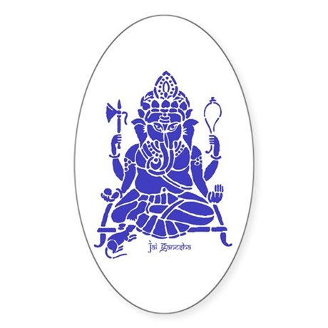Jai Ganesh (Blue) Oval Sticker