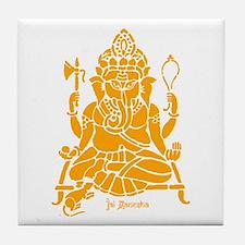 Jai Ganesh (Orange) Tile Coaster