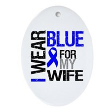 I Wear Blue Wife Oval Ornament