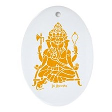 Jai Ganesh (Orange) Oval Ornament