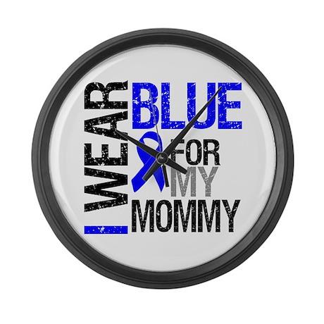 I Wear Blue Mommy Large Wall Clock