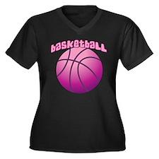 Pink BBall Women's Plus Size V-Neck Dark T-Shirt