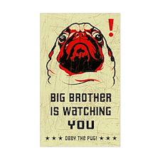 Big Brother Pug Rectangle Decal