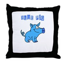 BLUE PIG Throw Pillow
