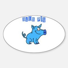 BLUE PIG Oval Decal