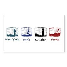 New York, Paris, London, FORK Rectangle Decal