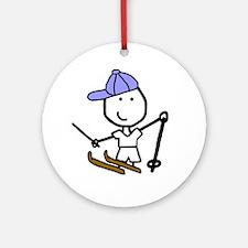 Boy & Skiing Ornament (Round)