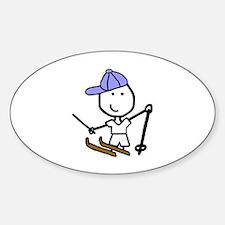 Boy & Skiing Oval Decal