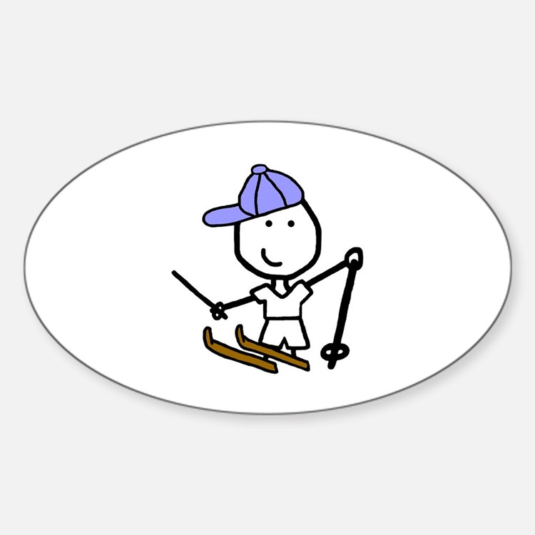 Boy & Skiing Oval Decal