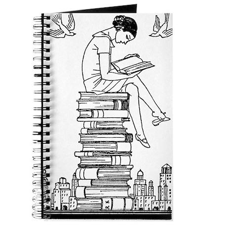 Reading Girl atop books Journal