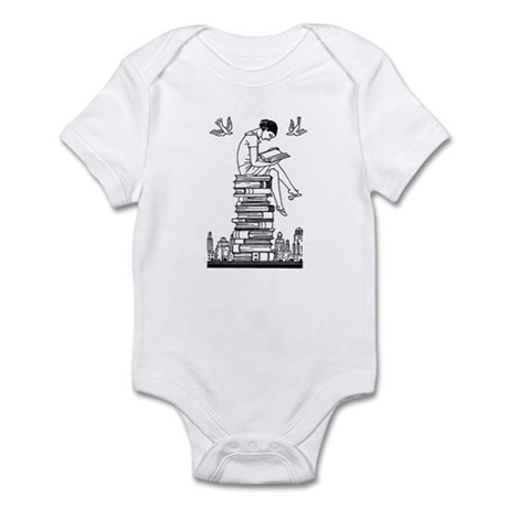 Reading Girl atop books Infant Bodysuit