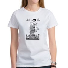 Reading Girl atop books Tee