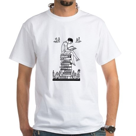 Reading Girl atop books White T-Shirt
