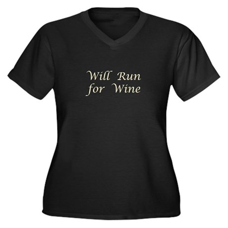 Will Run for Wine Women's Plus Size V-Neck Dark T-