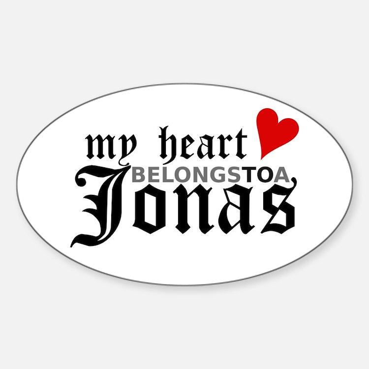 My Heart Belongs to a Jonas Oval Decal