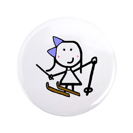 """Girl & Skiing 3.5"""" Button (100 pack)"""