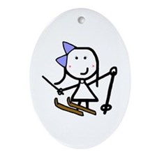 Girl & Skiing Oval Ornament