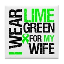 I Wear Lime Green For My Wife Tile Coaster