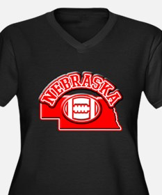 Nebraska Football Women's Plus Size V-Neck Dark T-