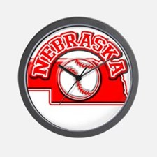 Nebraska Baseball Wall Clock