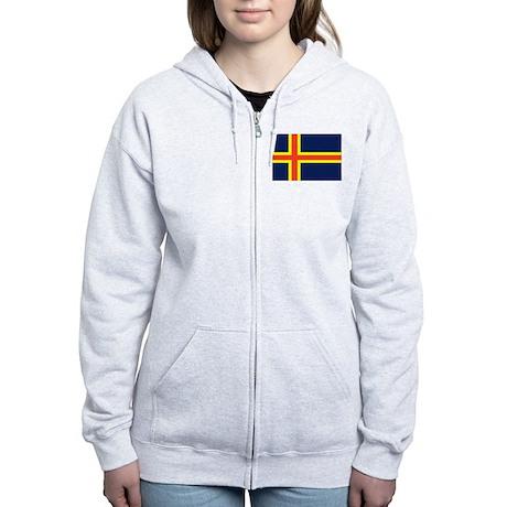 Aland Islands Country Flag Women's Zip Hoodie