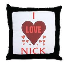 I Love Nick Throw Pillow