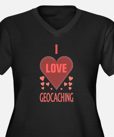 Geocaching Women's Plus Size V-Neck Dark T-Shirt