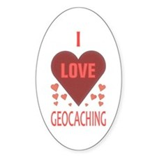 I Love Geocaching Oval Decal