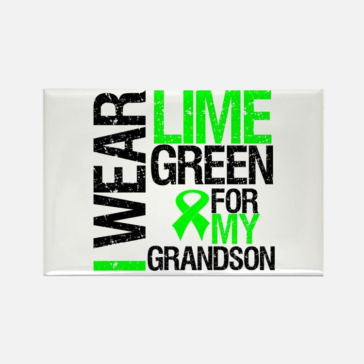 I Wear Lime Green Grandson Rectangle Magnet