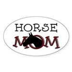 Horse mom black horse. Oval Sticker
