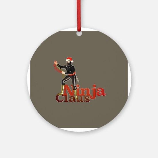 Ninja Claus Ornament (Round)