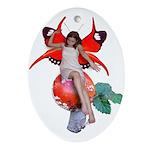 Mushroom Fairy Oval Ornament