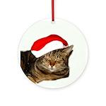 Christmas Kitty Ornament (Round)