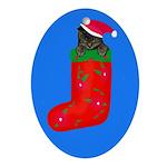 Christmas Kitty Oval Ornament